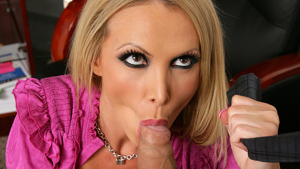 Shaved boss Nikki Benz fucking in the desk with her lingerie