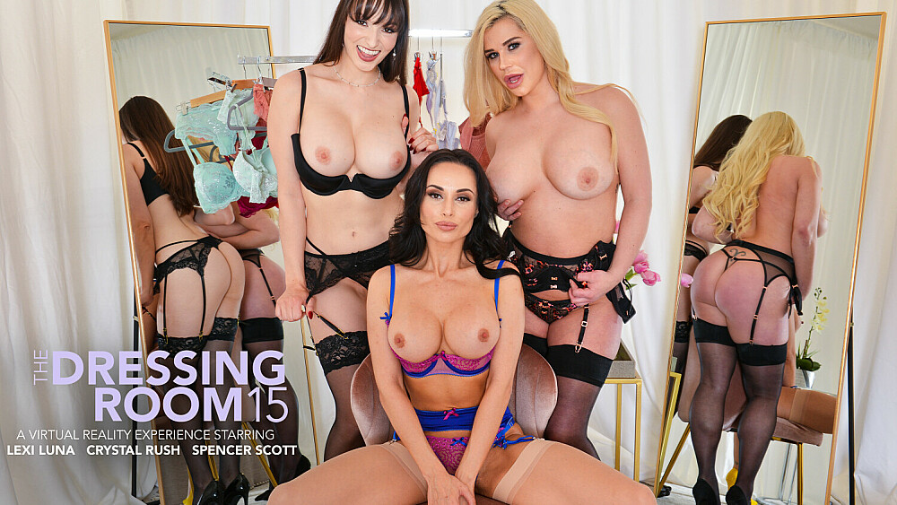 Crystal Rush, Lexi Luna, and Spencer Scott fuck a wealthy lawyer in The Dressing Room in exchange for sexy lingerie