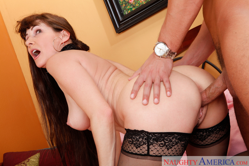 Porn star Alexandra Silk giving a blowjob