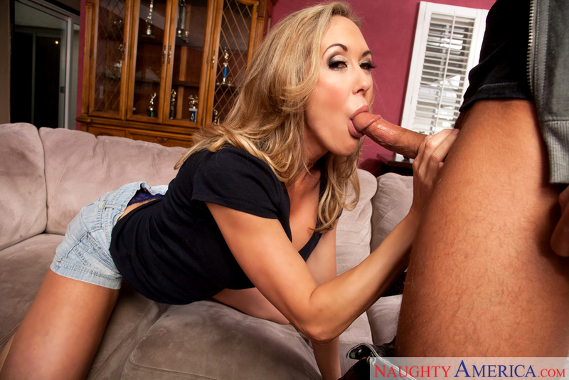 Porn star Brandi Love giving a blowjob