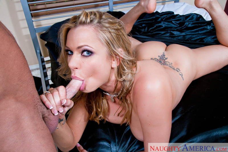 Porn star Briana Banks giving a blowjob