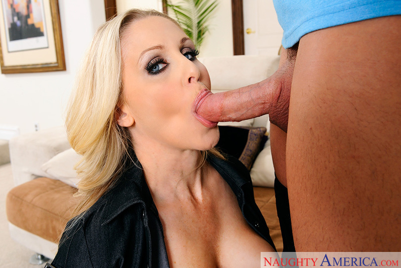Porn star Julia Ann giving a blowjob