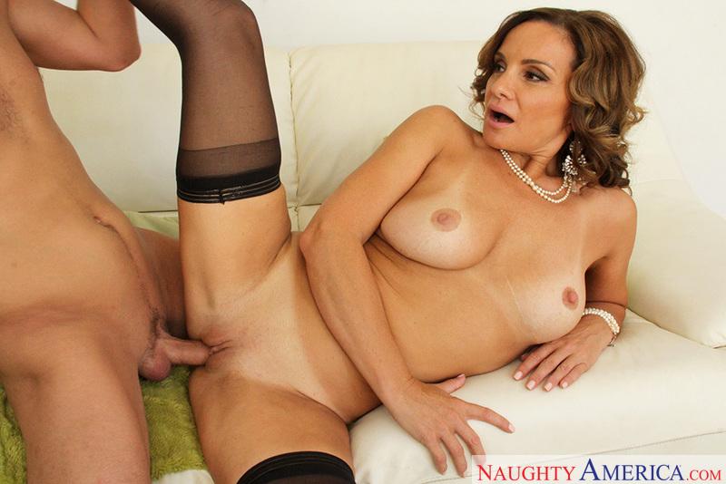 Porn star Rebecca Bardoux giving a blowjob