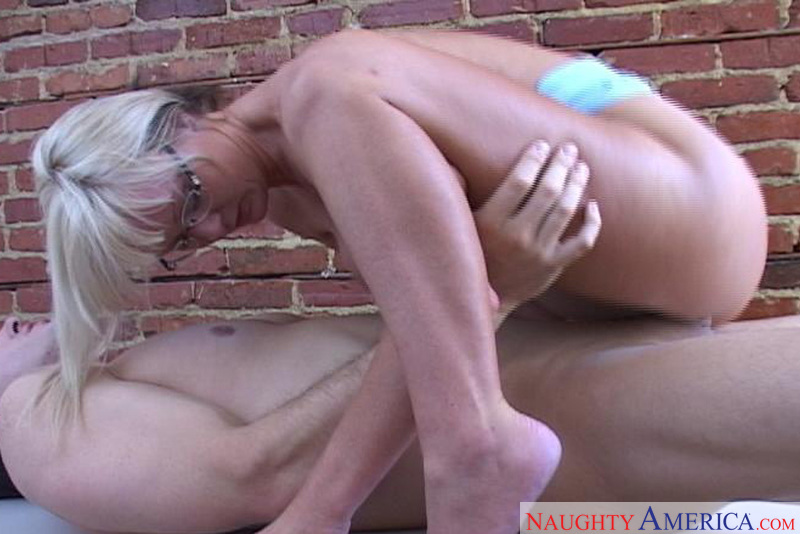 Porn star Mrs. Wesley giving a blowjob