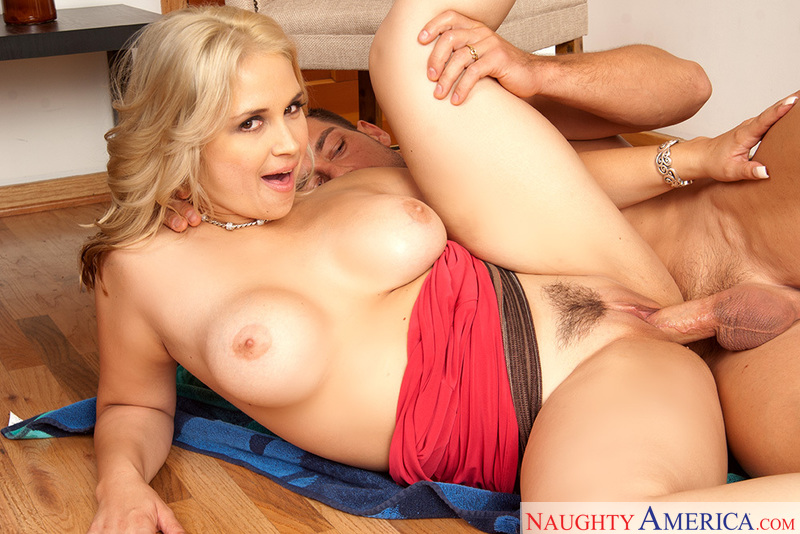 Porn star Sarah Vandella giving a blowjob