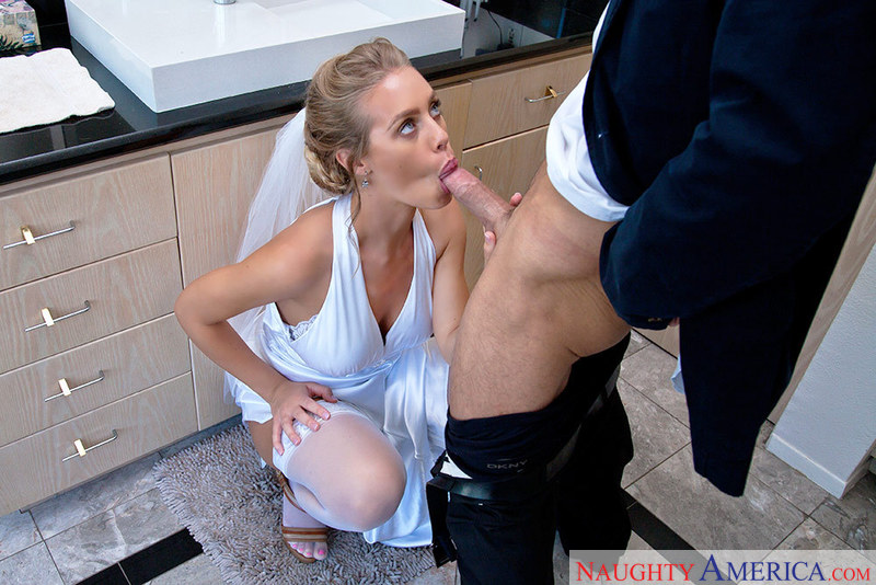 Porn star Nicole Aniston giving a blowjob