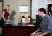 Shawna Lenee, Kagney Linn Karter & James Deen in Naughty Office - Sex Position 1
