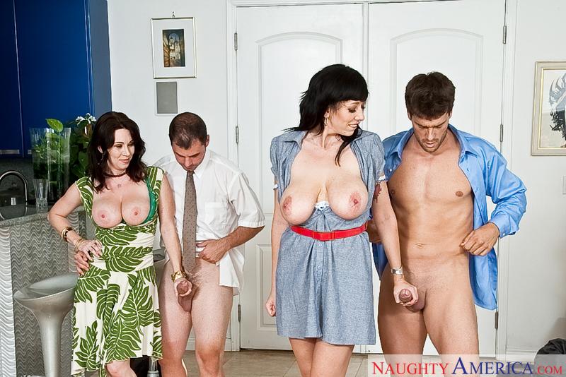 Porn star Alia Janine & RayVeness giving a blowjob