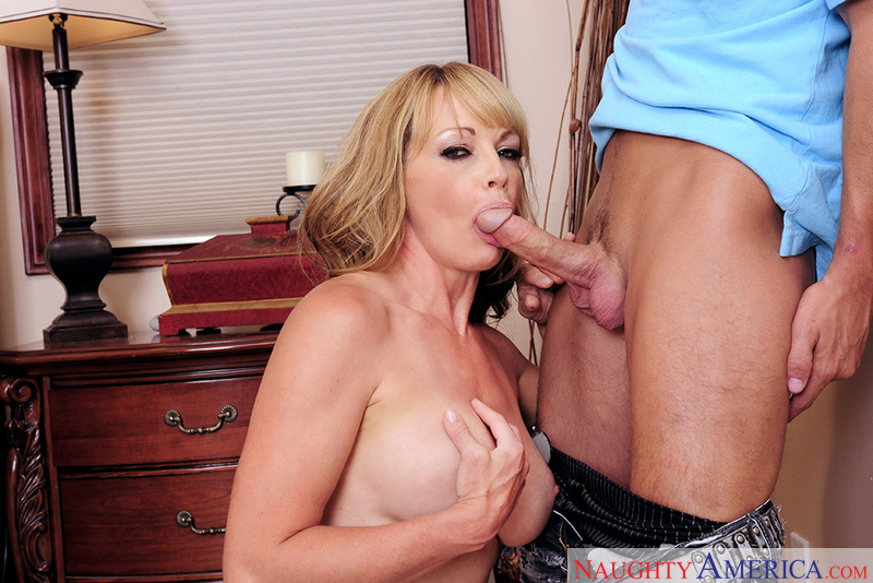 Porn star Shayla LaVeaux giving a blowjob