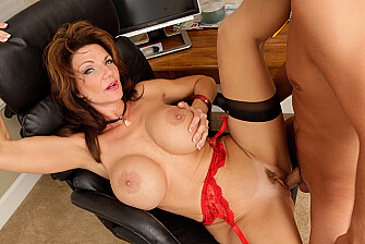Mature Deauxma fucking in the office with her big tits - Blowjob