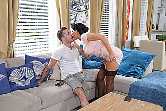 Shaved Lezley Zen fucking in the couch with her medium ass - Sex Position 1
