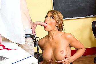 Mercedes Carrera fucking in the chair with her tits - Sex Position 2