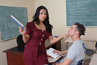 Brunette Mika Tan fucking in the classroom with her tits - Sex Position 1