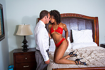 Misty Stone fucking in the bedroom with her small tits - Sex Position 1