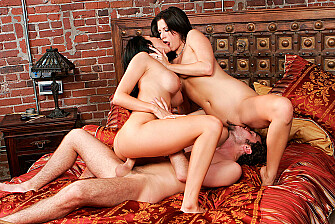 Audrey Bitoni fucking in the bedroom with her black hair - Blowjob