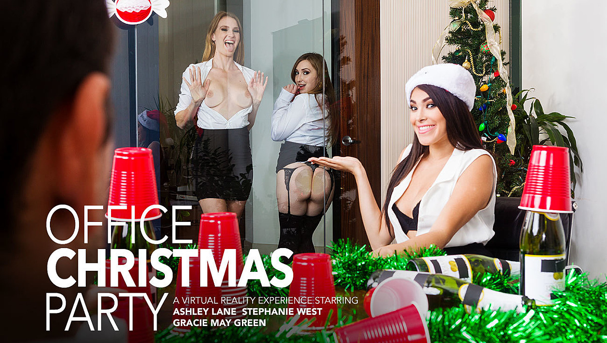 Three Girls Fuck You After The Holiday Party
