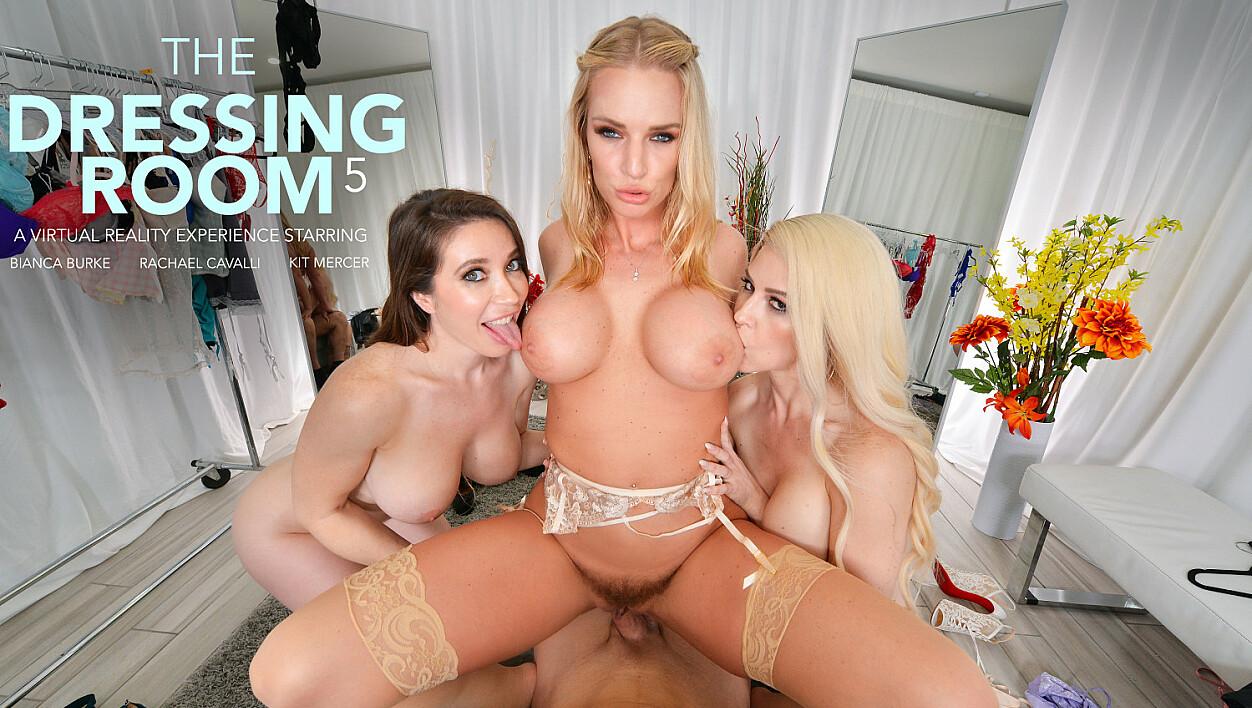 Bianca Burke, Kit Mercer, & Rachael Cavalli get fucked in the dressing room