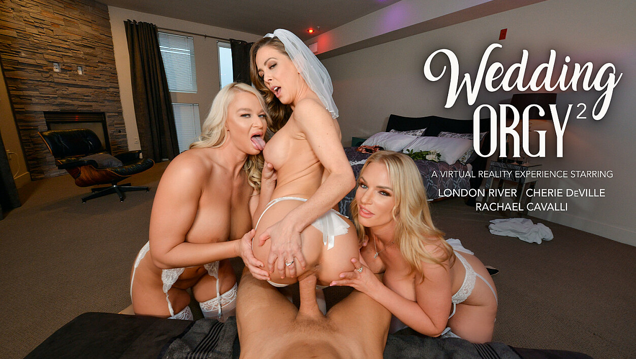 Cherie DeVille and her bridesmaids, Rachael Cavalli & London River, fuck her Ex