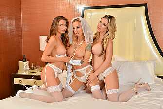 Sarah Jessie is getting married but wants one last bang with her bride's maids, Kayla Paige and Silvia Saige - Sex Position 3