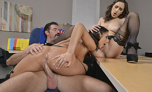 Ashley Adams fucking in the office with her brown eyes - Sex Position #7