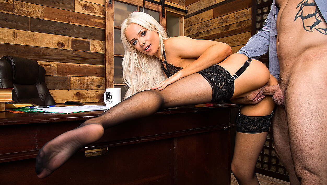 Blond Secretary Elsa Jean Gives Her Boss A Father's Day Fuck