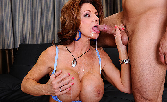 Brunette Deauxma fucking in the couch with her big tits - Sex Position #11