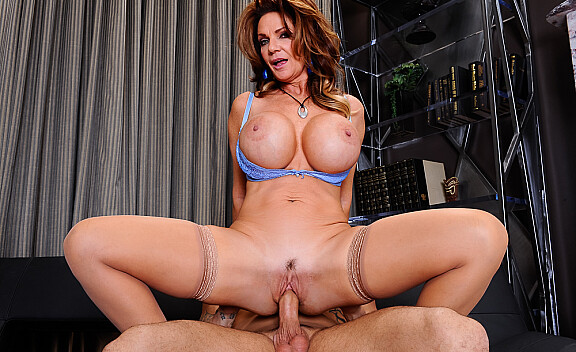 Brunette Deauxma fucking in the couch with her big tits - Sex Position #6