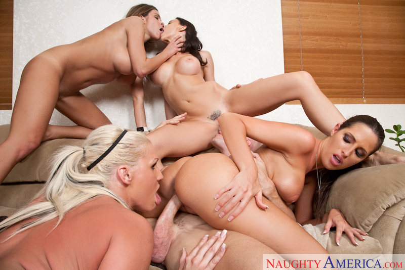Big tit brunette threesome