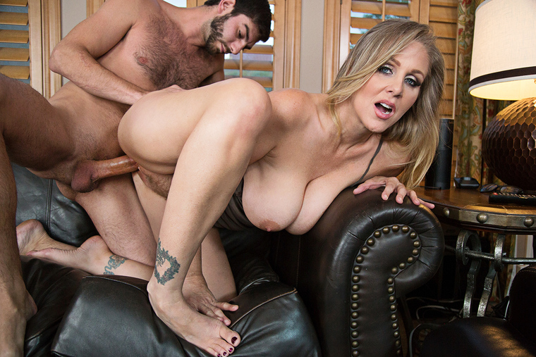 MILF Julia Ann fucking in the living room with her big tits