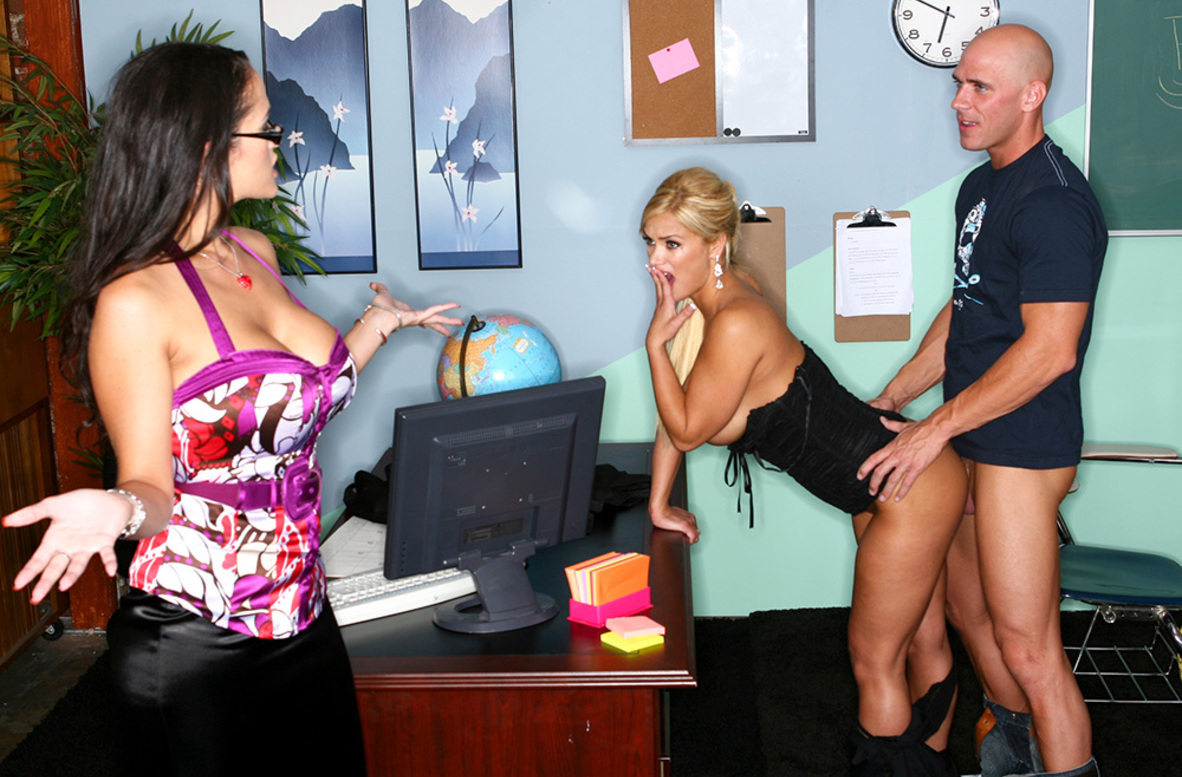 Watch Carmella Bing, Shyla Stylez and Johnny Sins Ass smacking video in My First Sex Teacher
