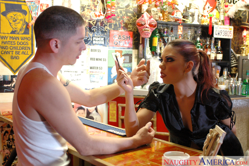 Satine Phoenix fucking in the bar with her tattoos - Sex Position 1