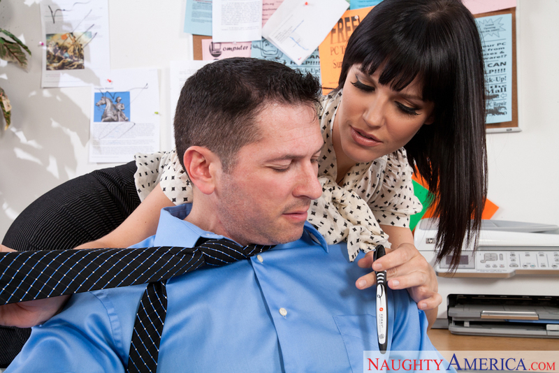 Bobbi Starr fucking in the desk with her black hair - Sex Position 1