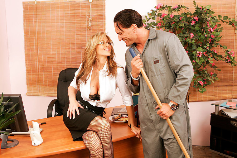 Julia Ann gets dirty with the janitor at work