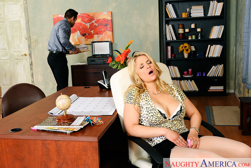 Blonde Sarah Vandella fucking in the office with her tits - Sex Position 2