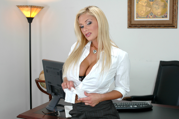 Blonde Shyla Stylez fucking in the desk with her big tits