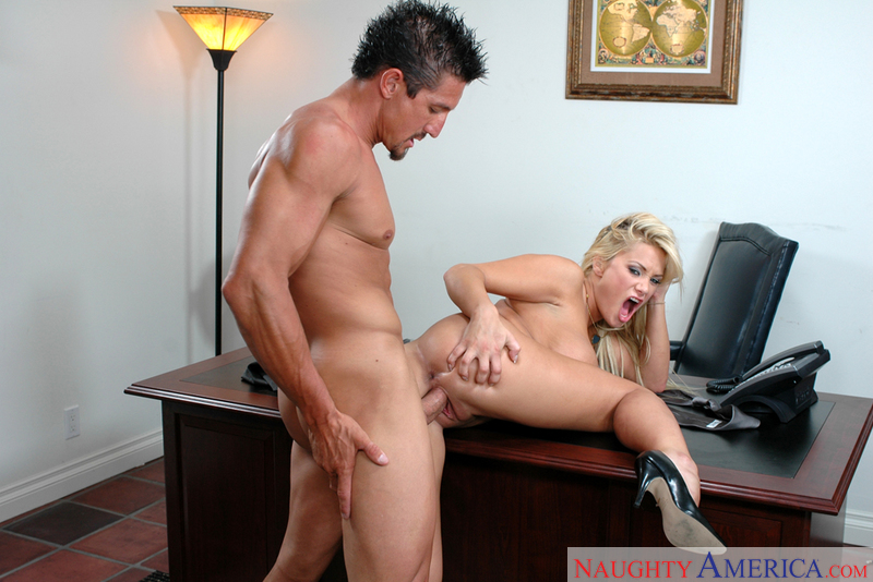 Blonde Shyla Stylez fucking in the desk with her big tits - Sex Position 3