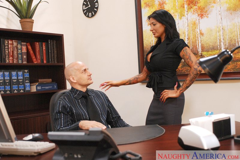 Lawyer Ricki Raxxx fucking in the desk with her piercings - Sex Position 1