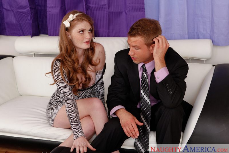 Red head stranger Faye Reagan fucking in the couch - Sex Position 1