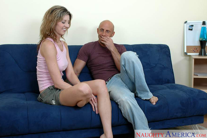 Co-ed Lisa Marie fucking in the couch with her tattoos - Sex Position 1